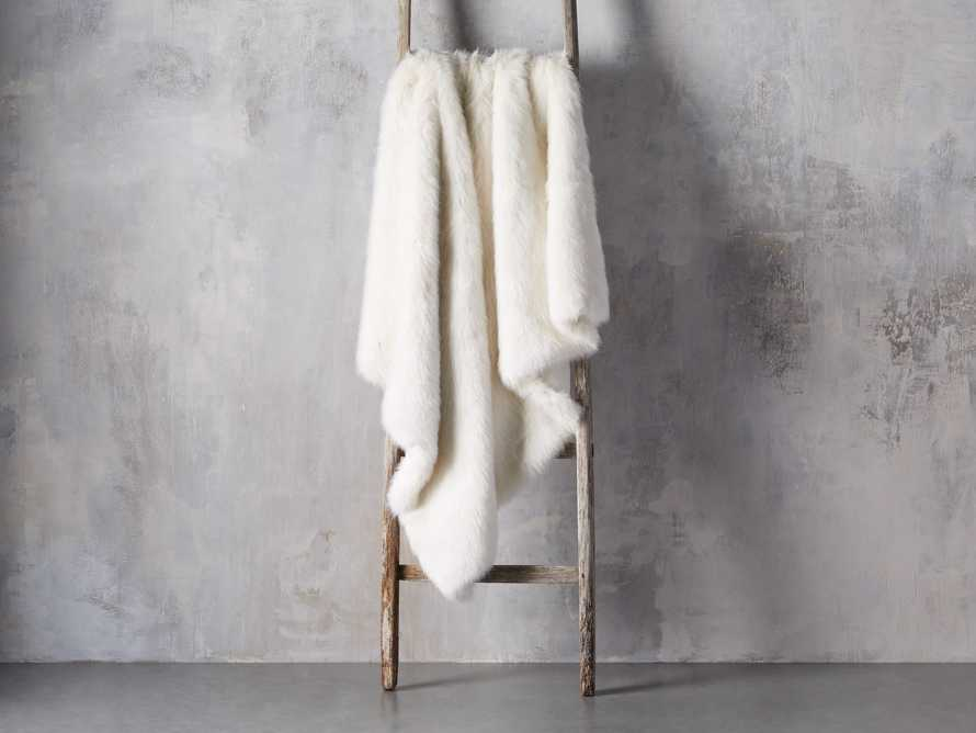 Luxe Faux Fur Throw in Ivory, slide 2 of 4