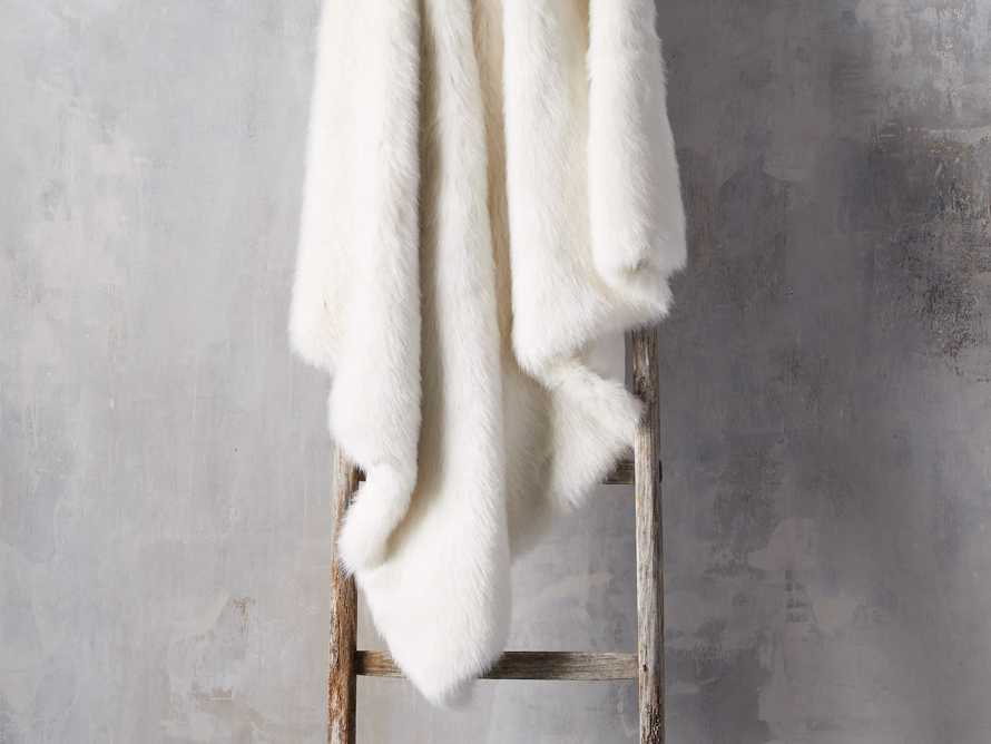 Luxe Faux Fur Throw in Ivory, slide 1 of 4
