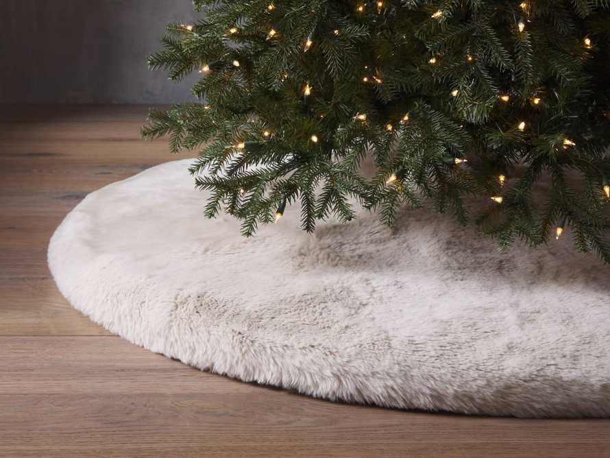 Ivory Faux Fur Rabbit Tree Skirt, slide 1 of 4