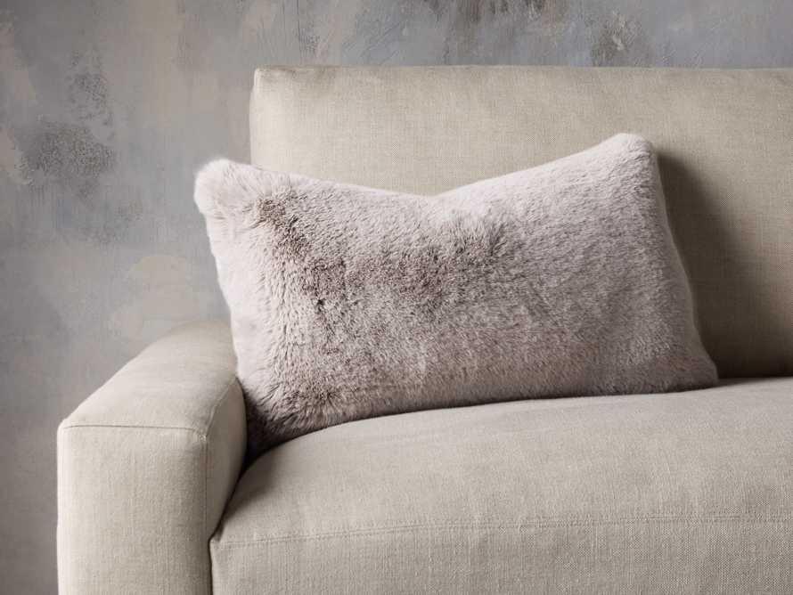 Faux Rabbit Lumbar Pillow Cover in Grey, slide 3 of 4