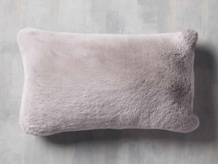 Faux Rabbit Lumbar Pillow Cover in Grey, slide 1 of 4