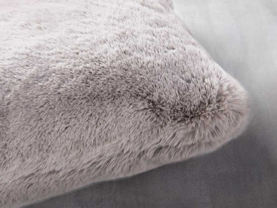 Faux Rabbit Lumbar Pillow Cover in Grey, slide 2 of 4