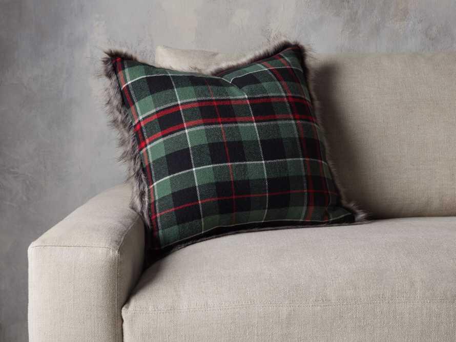 Green Tartan Faux Fur Pillow Cover, slide 4 of 5