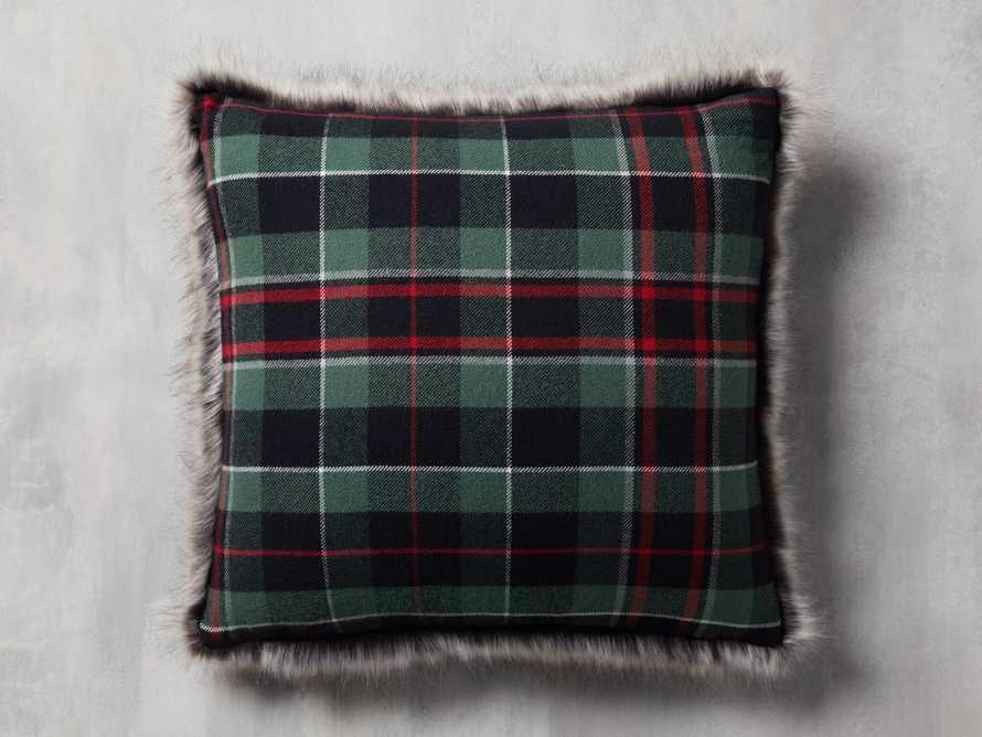 Green Tartan Faux Fur Pillow Cover, slide 1 of 5