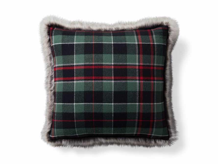 Green Tartan Faux Fur Pillow Cover, slide 5 of 5