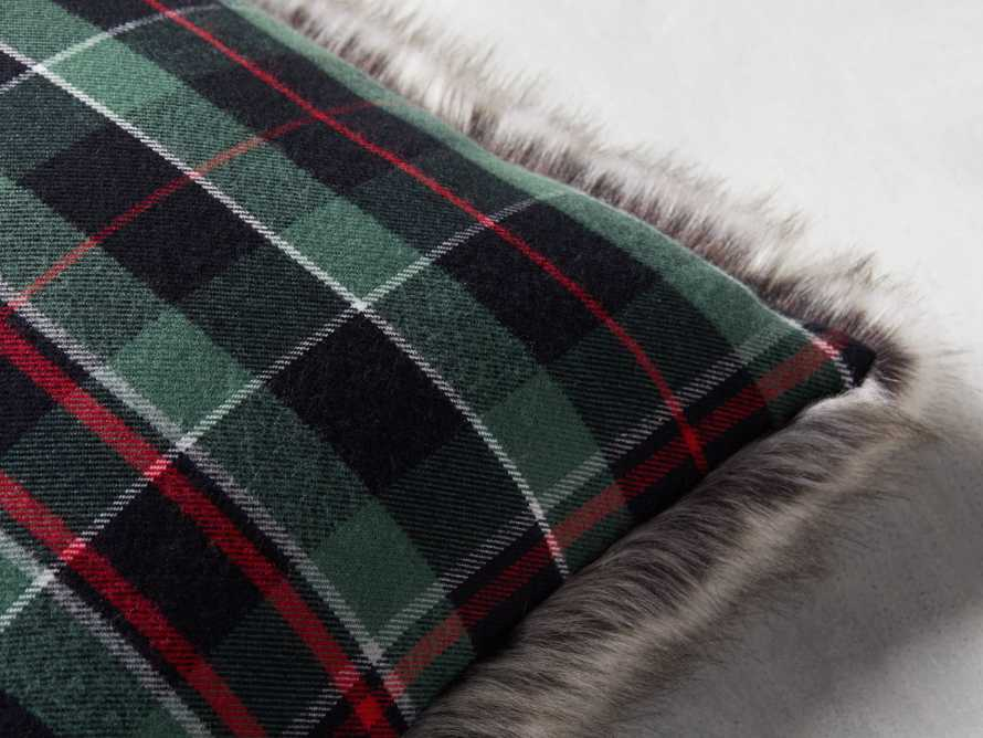 Green Tartan Faux Fur Pillow Cover, slide 3 of 5