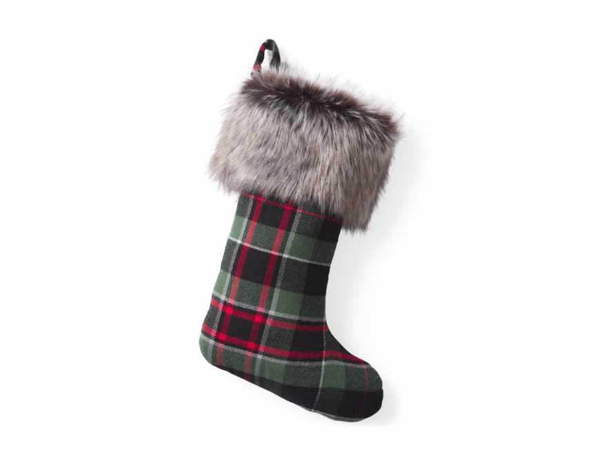 Green Tartan Faux Fur Stocking, slide 3 of 3