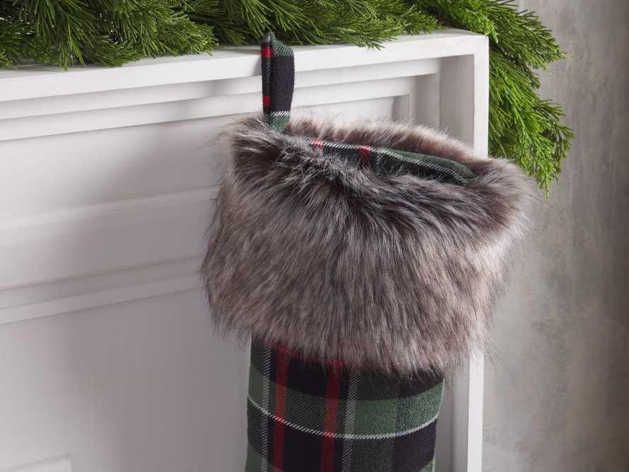 Green Tartan Faux Fur Stocking, slide 2 of 3