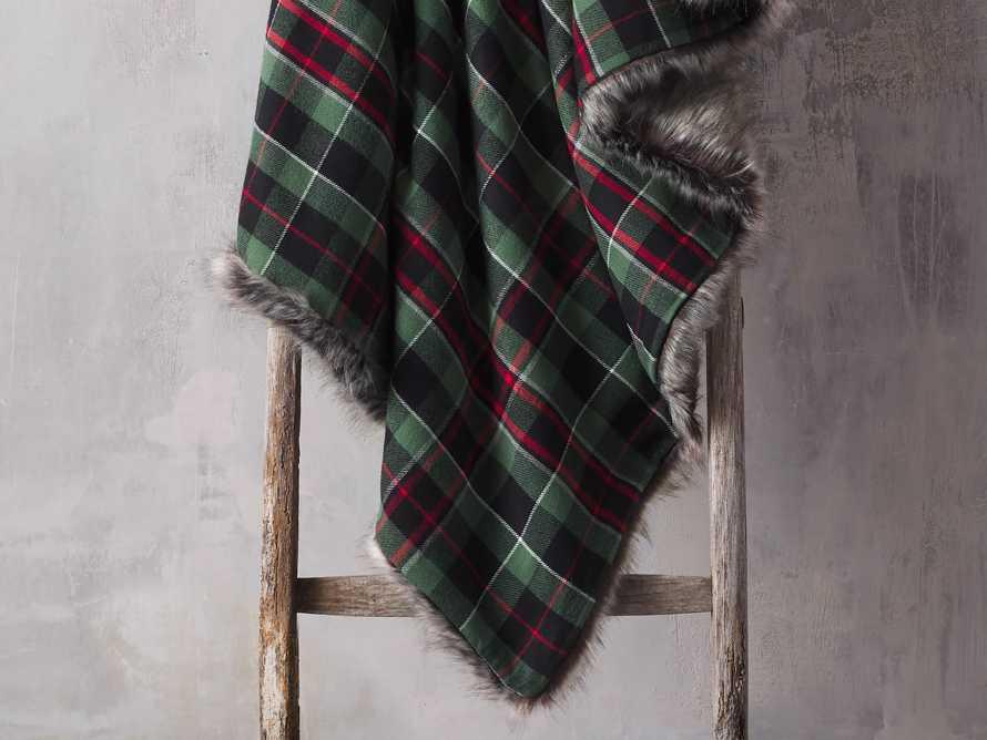 Green Tartan Faux Fur Throw, slide 1 of 4
