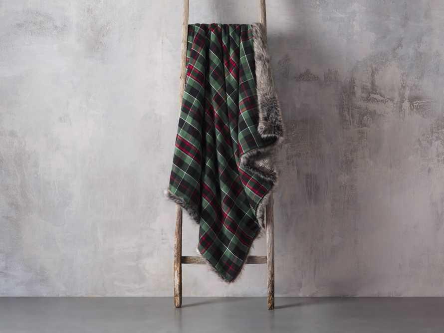Green Tartan Faux Fur Throw, slide 3 of 4