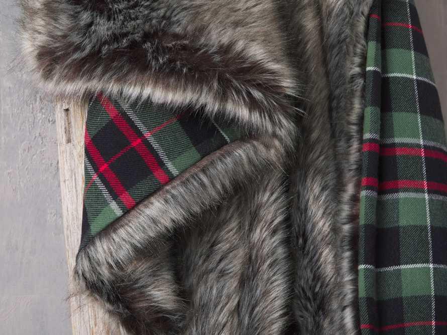 Green Tartan Faux Fur Throw, slide 4 of 4