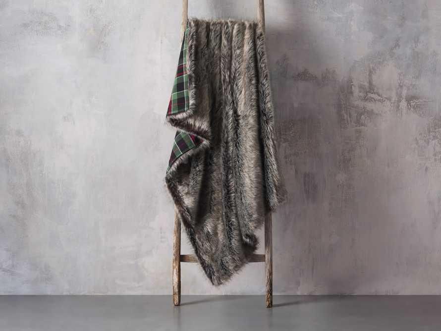 Green Tartan Faux Fur Throw, slide 2 of 4