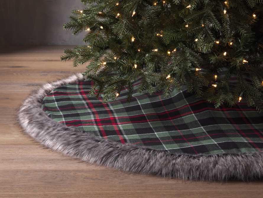 Green Tartan Faux Fur Tree Skirt, slide 1 of 3