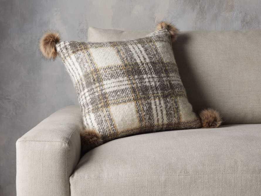 Charcoal Tartan Faux Fur Pillow Cover, slide 3 of 4