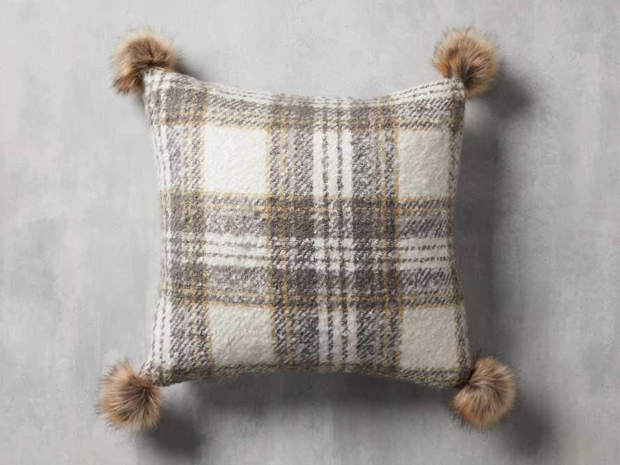 Charcoal Tartan Faux Fur Pillow Cover, slide 1 of 4
