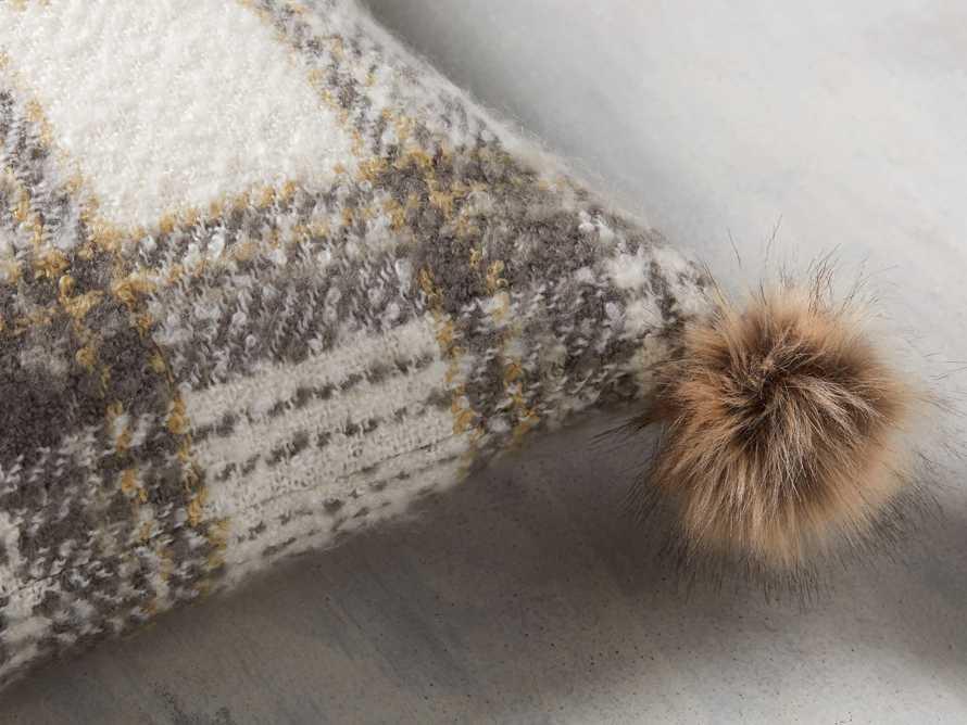 Charcoal Tartan Faux Fur Pillow Cover, slide 2 of 4