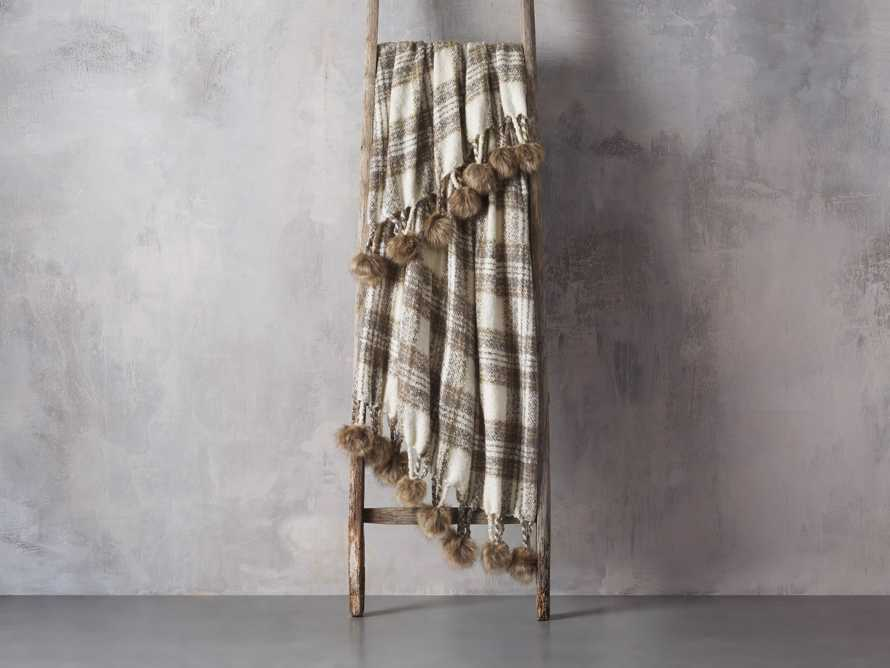 Charcoal Tartan Throw with Faux Fur Pom Poms, slide 2 of 3
