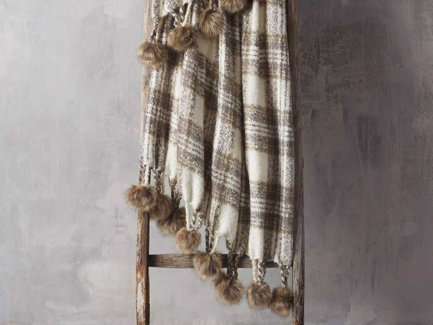 Charcoal Tartan Throw with Faux Fur Pom Poms, slide 1 of 3