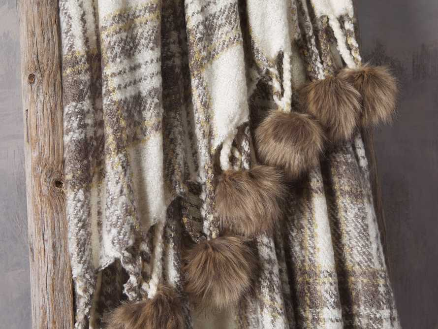 Charcoal Tartan Throw with Faux Fur Pom Poms, slide 3 of 3