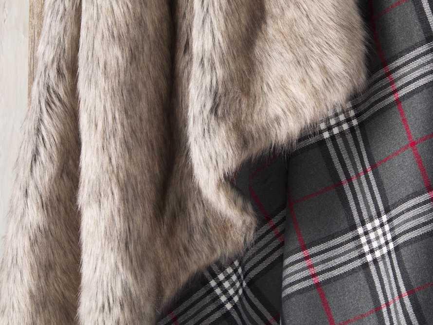 Charcoal Tartan Faux Fur Throw, slide 4 of 4