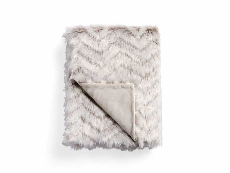 Faux Fur Chevron Grey Throw