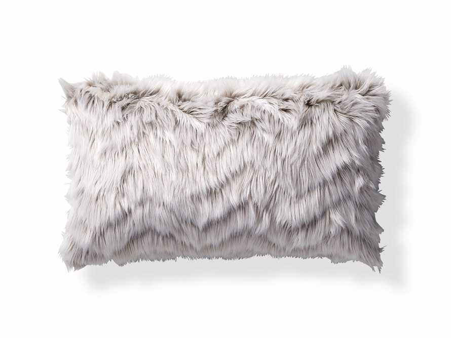 "Faux Fur Chevron 24"" Lumbar Pillow in Ivory"