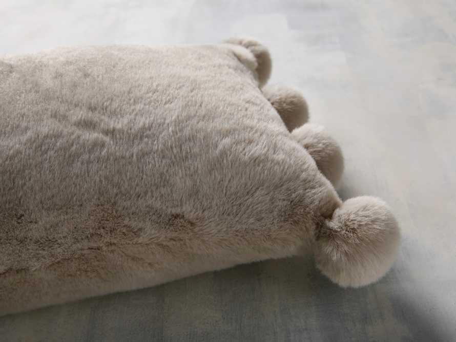 Faux Fur Pom Lumbar Pillow in Grey