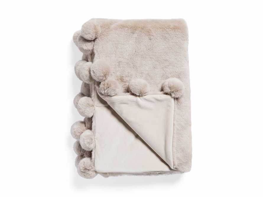 Faux Fur Pom Throw in Grey, slide 4 of 7