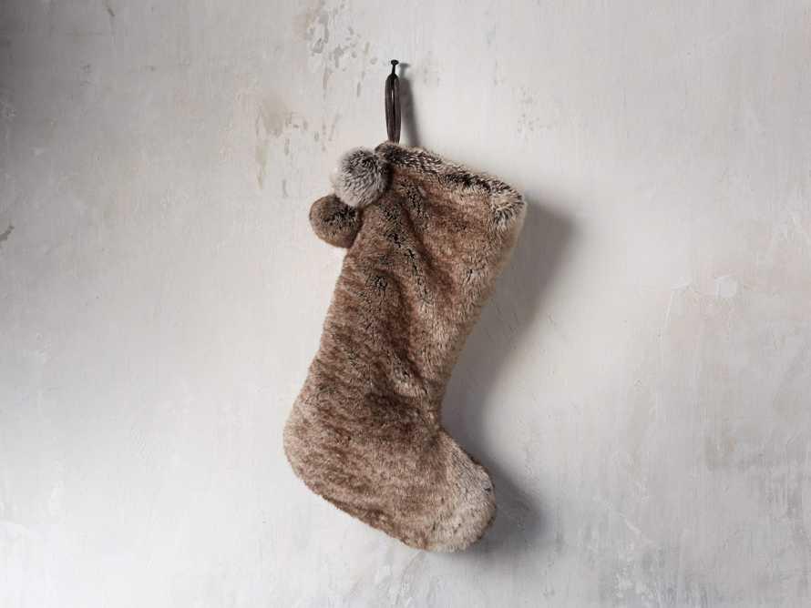 Faux Fur Pom Pom Stocking in Grey Wolf, slide 1 of 5