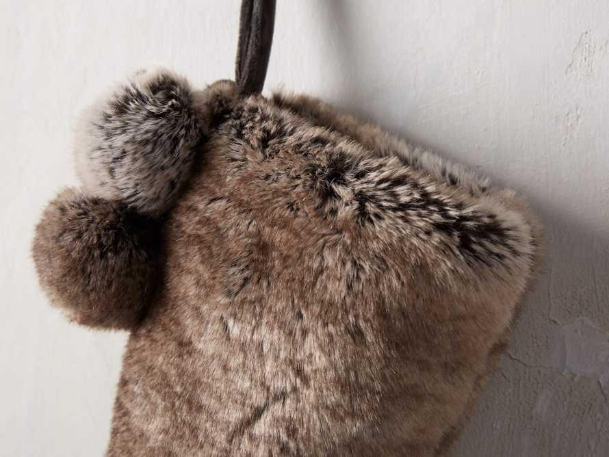 Faux Fur Pom Pom Stocking in Grey Wolf, slide 2 of 5