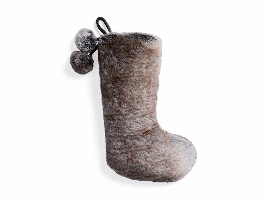 Faux Fur Pom Pom Stocking in Grey Wolf, slide 3 of 5