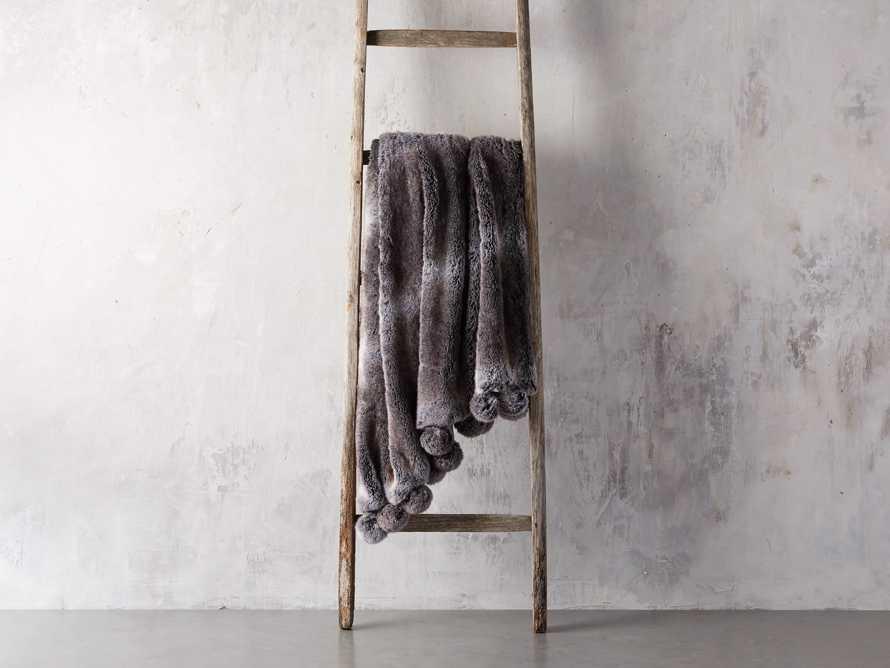 Faux Fur Wolf Pom Throw in Grey