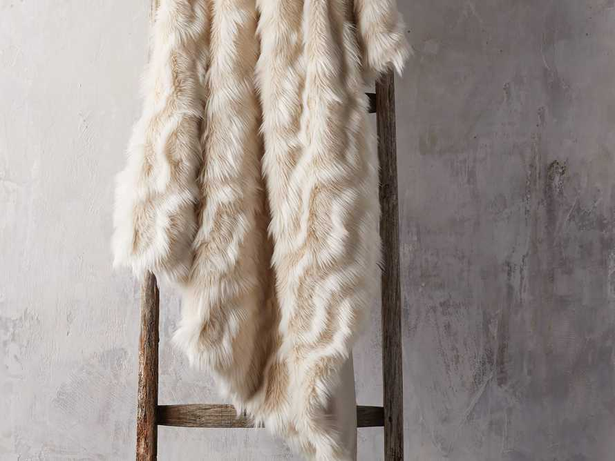 Faux Fur Chevron Throw in Ivory