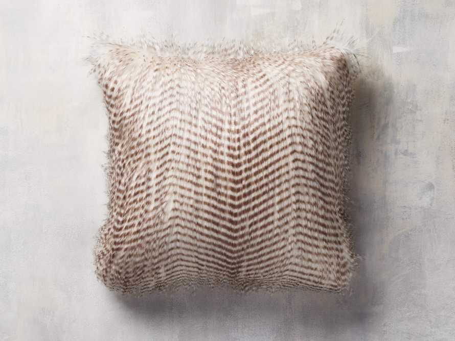 """Faux Fur Feather 19"""" Pillow in Ivory"""