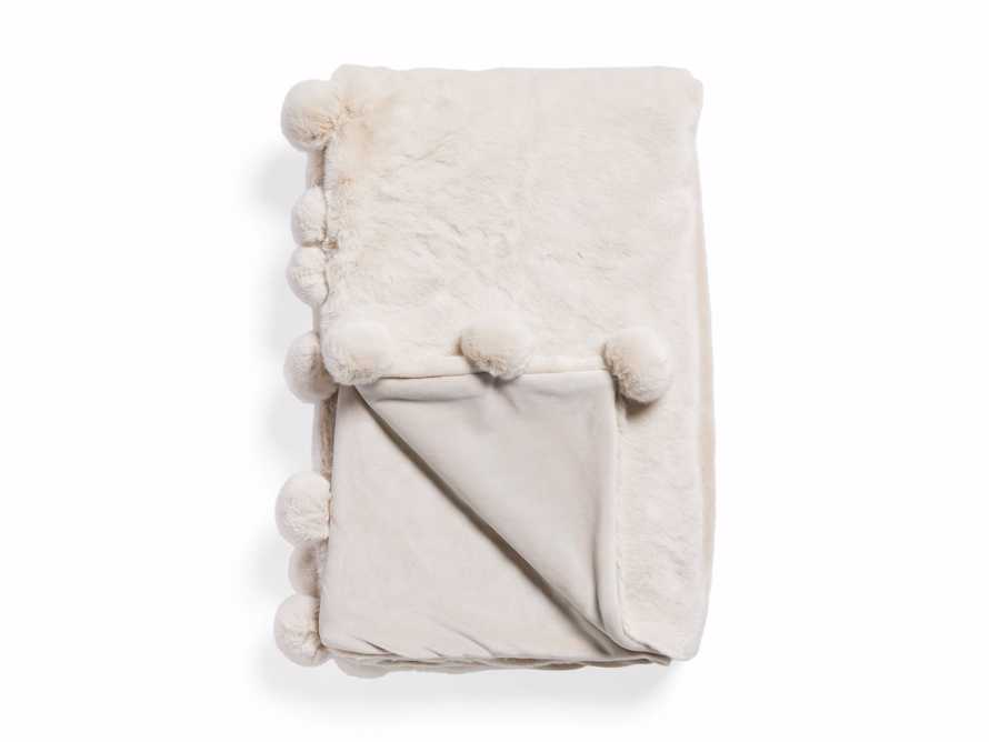 Faux Fur Pom Throw in Ivory