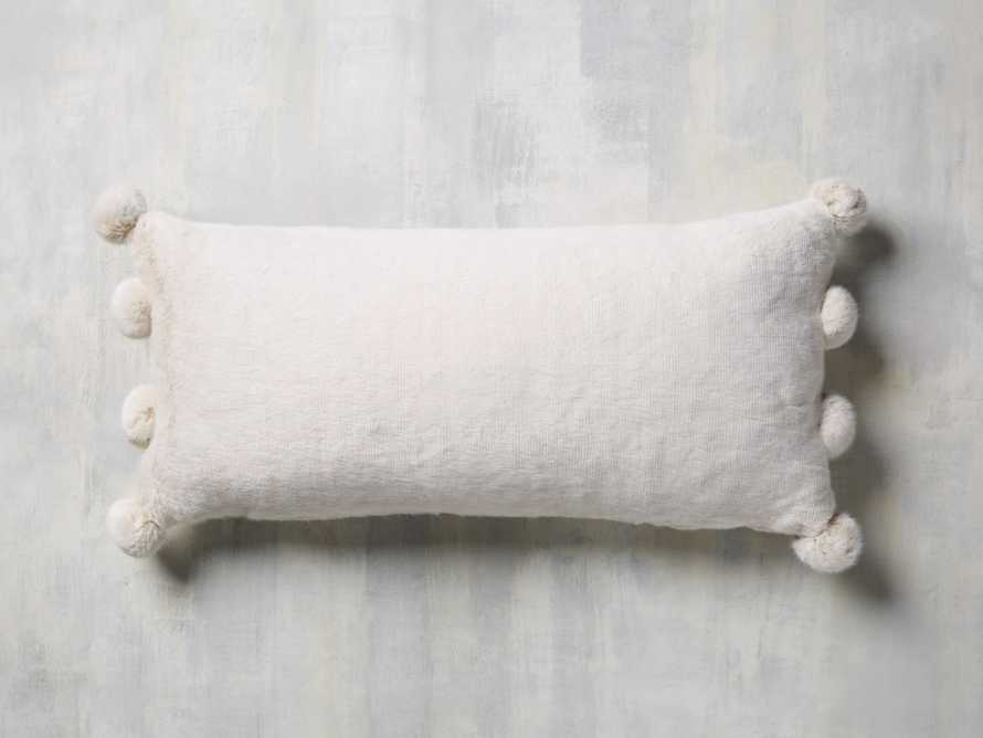 Faux Fur Pom Lumbar Pillow in Ivory
