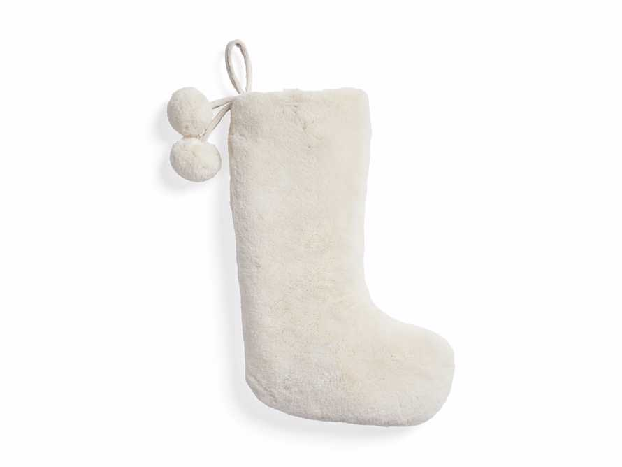 Ivory Faux Fur Stocking with Pom Pom