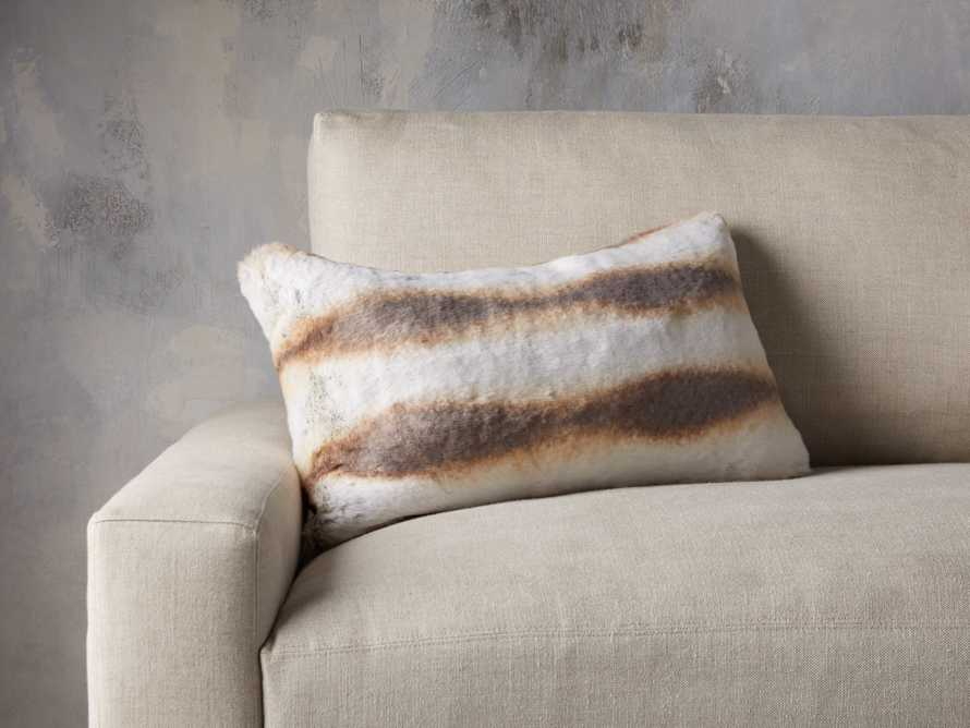 FAUX FUR LUMBAR PILLOW COVER IN CHINCHILLA, slide 3 of 4