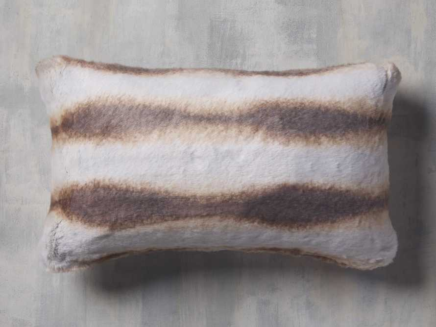 FAUX FUR LUMBAR PILLOW COVER IN CHINCHILLA, slide 1 of 4