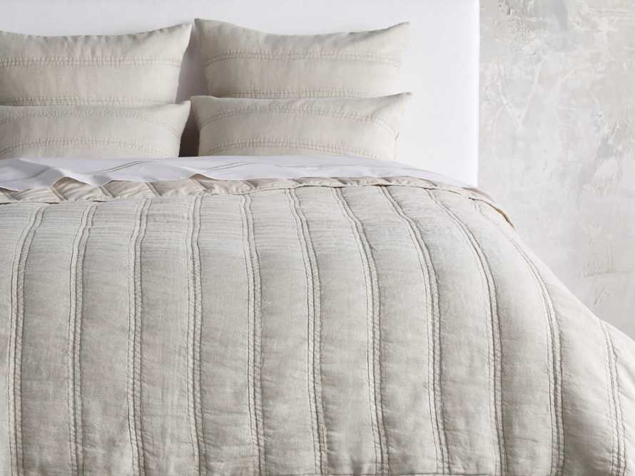 French Seam Linen King Quilt in Natural, slide 1 of 4