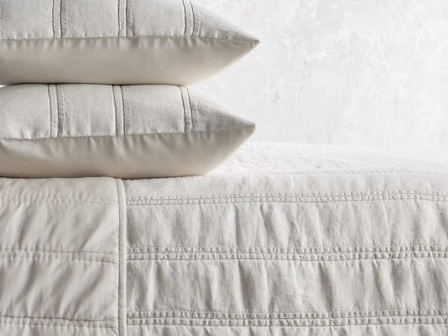 French Seam Linen King Quilt in Natural, slide 2 of 4