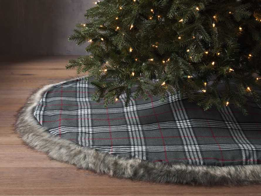 Charcoal Tartan Faux Fur Tree Skirt, slide 1 of 4