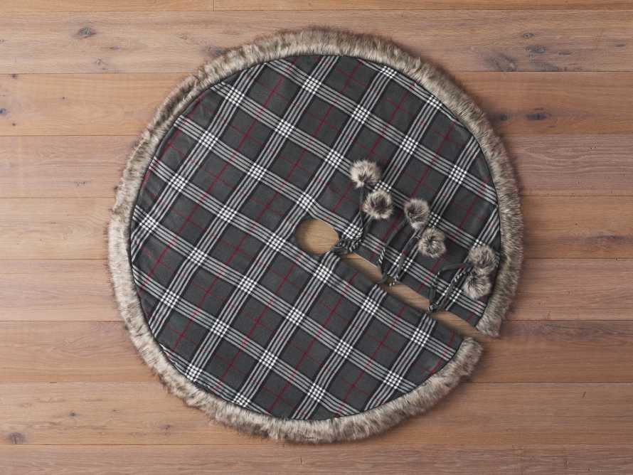 Charcoal Tartan Faux Fur Tree Skirt, slide 2 of 4