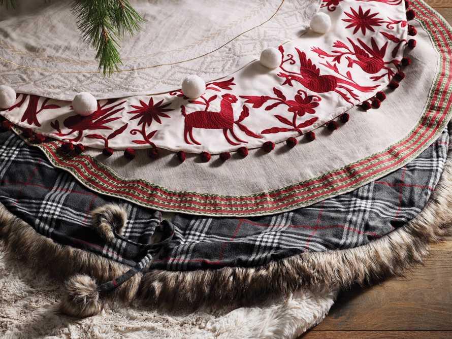 Charcoal Tartan Faux Fur Tree Skirt, slide 4 of 4