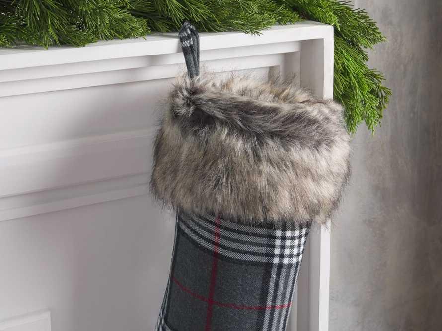 Charcoal Tartan Faux Fur Stocking, slide 2 of 3