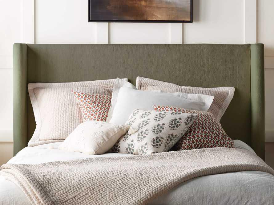 "Geo Block Print 20"" Pillow in Jade, slide 4 of 5"