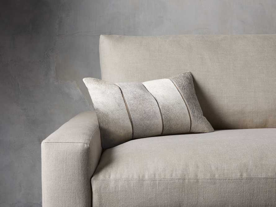 CHANNEL STITCH HIDE  LUMBAR  PILLOW IN GREY, slide 1 of 5