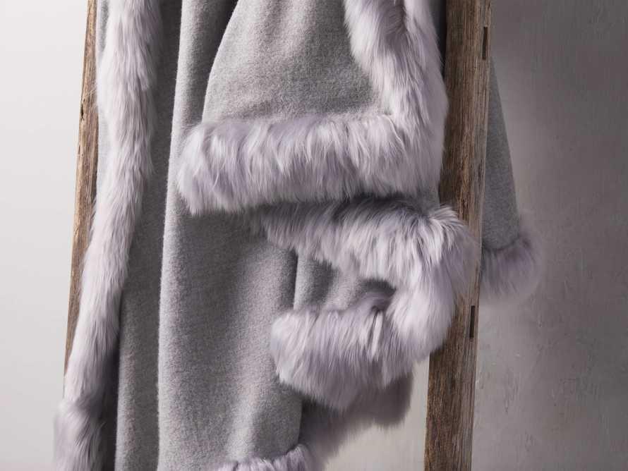 Baby Alpaca Border Throw in Grey, slide 3 of 3
