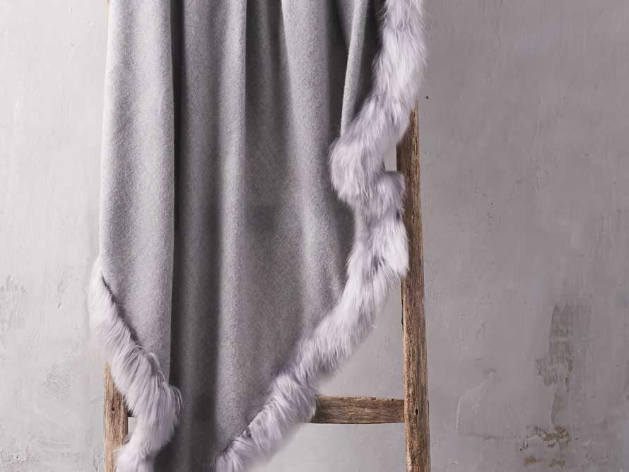 Baby Alpaca Border Throw in Grey, slide 1 of 3
