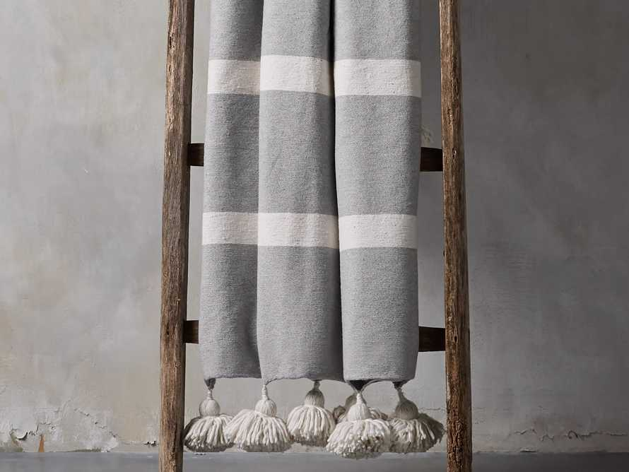 Moroccan Pom Pom Blanket in Grey Stripe